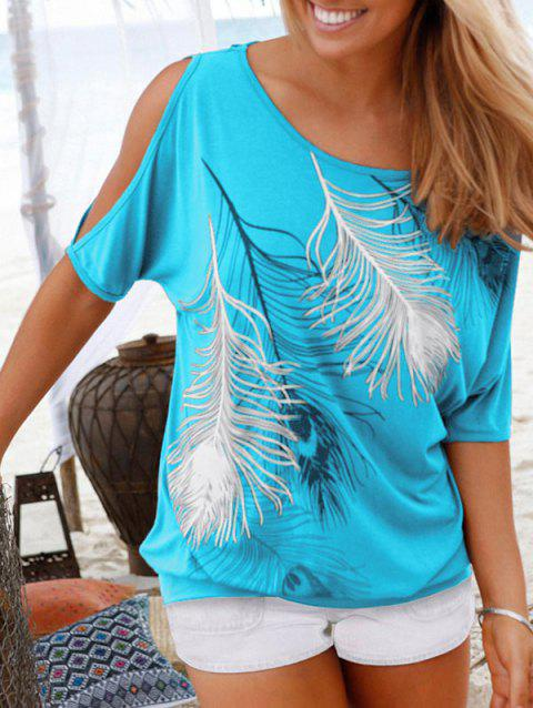 Peacock Feather Cold Shoulder Blouson T-shirt - CELESTE L