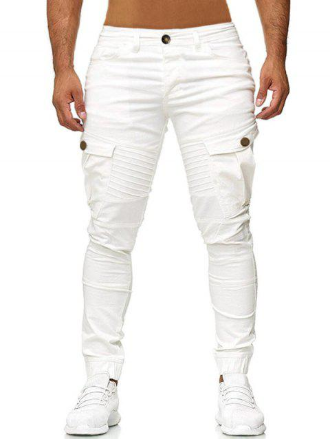 Pocket Decoration Casual Style Pants - WHITE 2XL