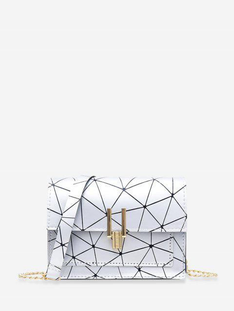 Chain Cover Geometric Crossbody Bag - SILVER
