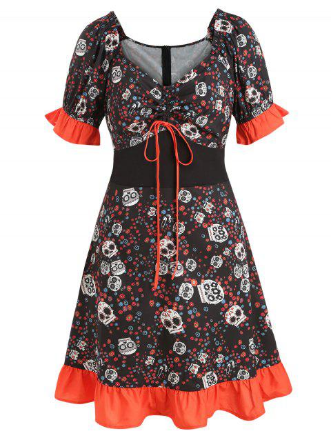 Plus Size Halloween Skulls Print Flounce Dress - BLACK L