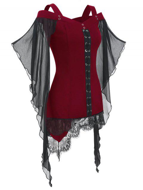 Gothic Criss Cross Lace Insert Butterfly Sleeve T-shirt - RED WINE XL