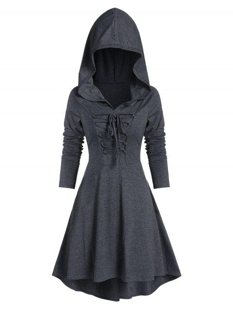 Hooded Lace-up Heathered High Low Gothic Dress - DARK GRAY M