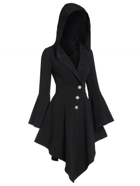 Bell Sleeve Lace Up Glitter Coat - BLACK XL