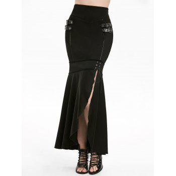 Gothic Lace Up Buckle Slit Mermaid Skirt