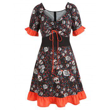 Plus Size Halloween Skulls Print Flounce Dress