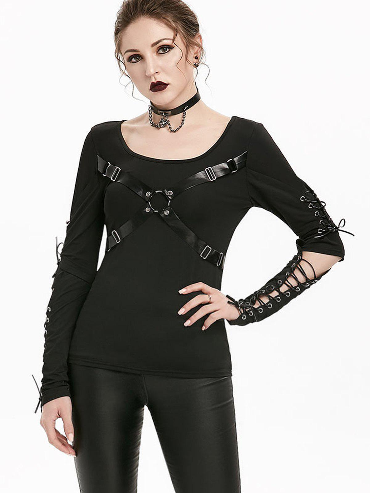 Cut Out Elbow Lace-up Harness Insert Gothic T-shirt - BLACK L