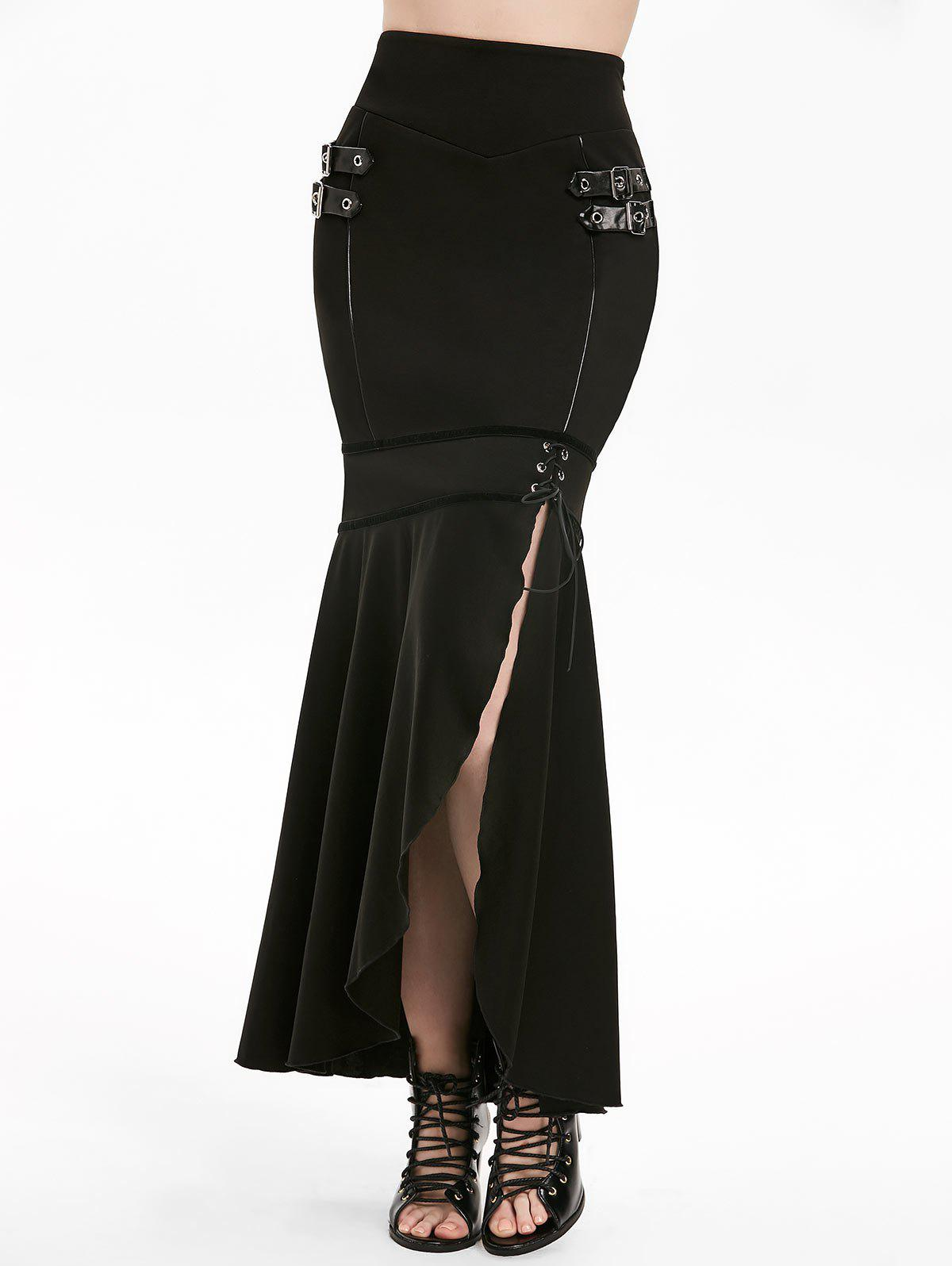 Gothic Lace Up Buckle Slit Mermaid Skirt - BLACK 2XL