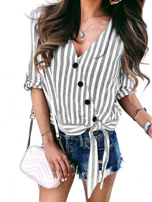 Roll Tab Sleeves Buttons Striped Knotted Blouse - LIGHT GRAY L
