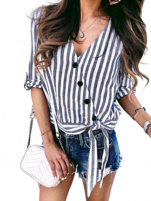 Roll Tab Sleeves Buttons Striped Knotted Blouse - DARK GRAY M