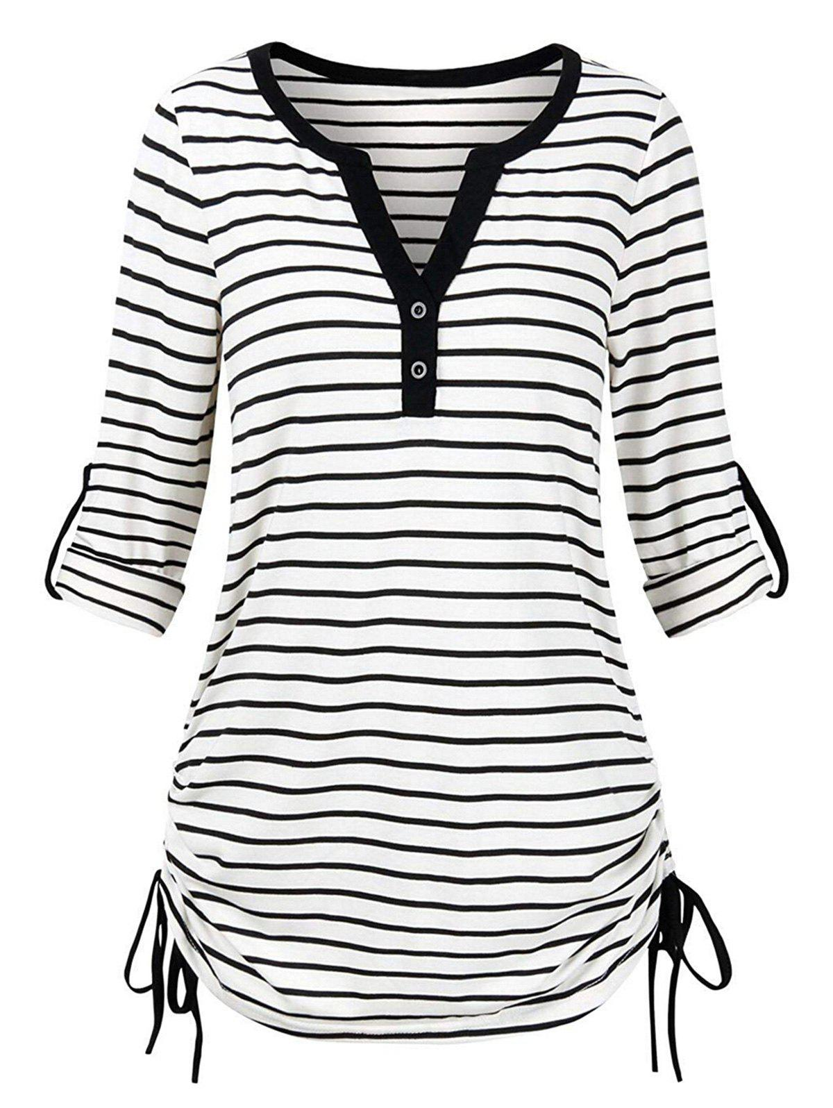 Plus Size Roll Up Striped Cinched T-shirt - WHITE L