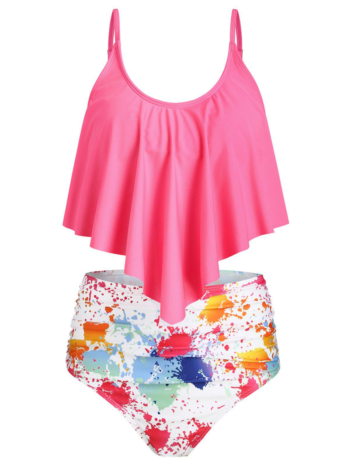 Splash Tie Dye Ruched Overlay Tankini Swimsuit - ROSE RED XL