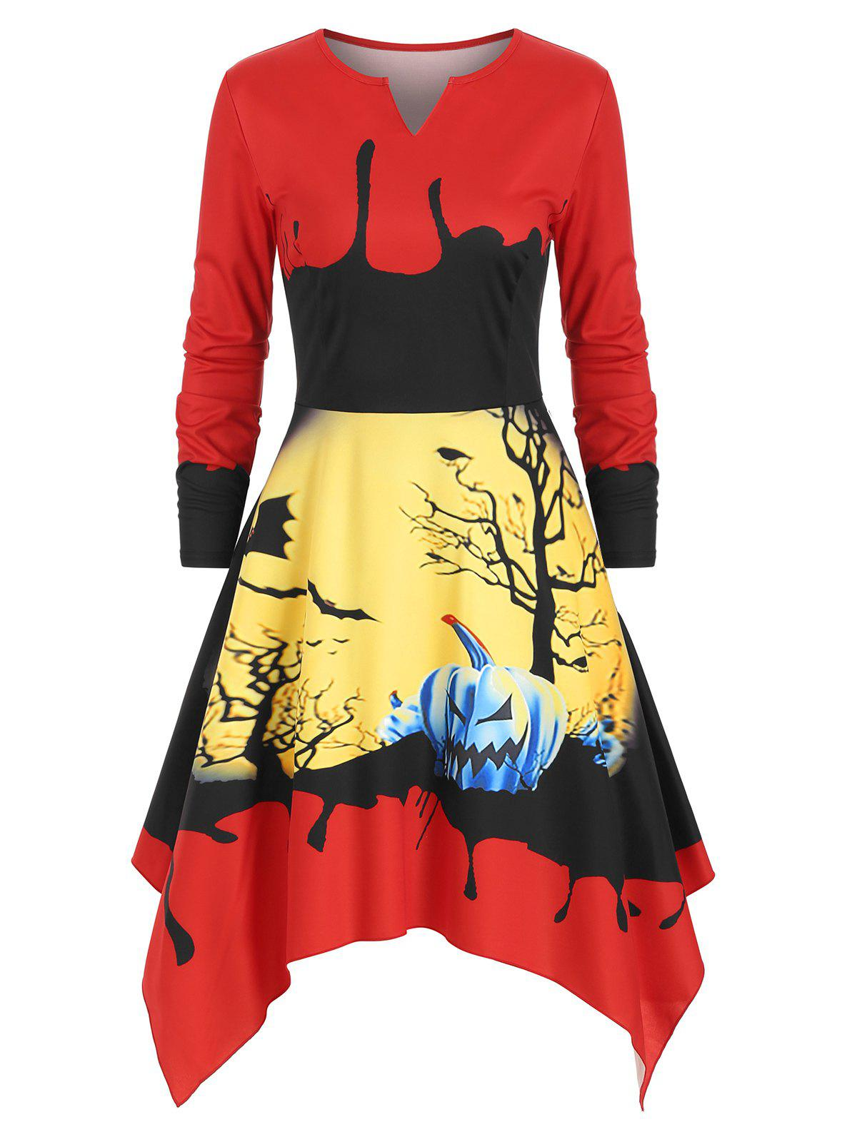 Pumpkin Graphic Notched Asymmetric Halloween Dress