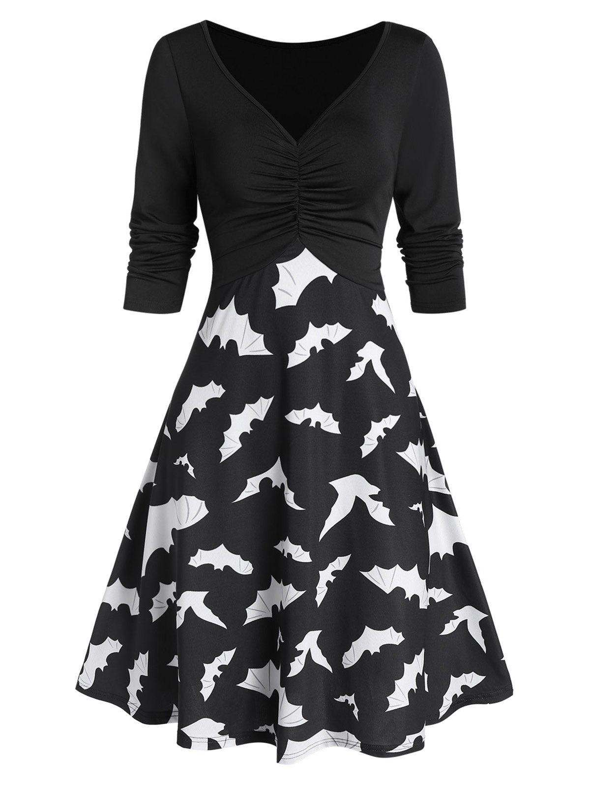 Bat Print Fit And Flare Plunge Dress - BLACK XL