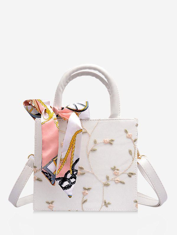 Printed Silk Embellished Floral Lace Crossbody Bag - WHITE