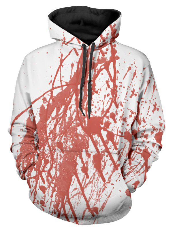 Halloween Blood Print Front Pocket Hoodie - WHITE M