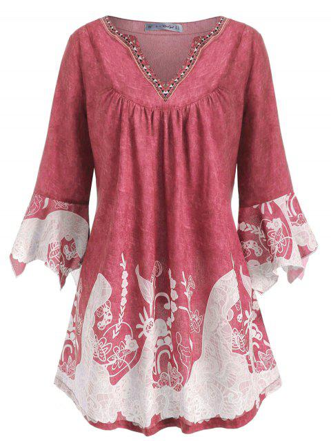 Notched Printed Flare Sleeve Plus Size Top - PINK 4X