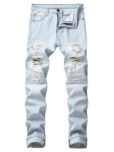 Ruffle Ripped Decoration Leisure Jeans - JEANS BLUE 34