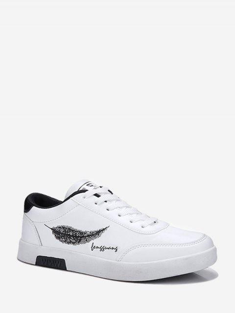 Leaf Print Casual Lace-up Sneakers - WHITE EU 43