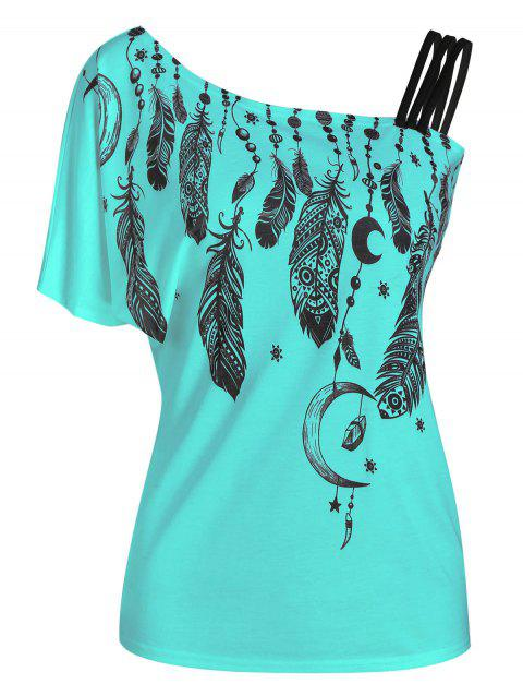 Feather Print Skew Neck One Sleeve T-shirt - MACAW BLUE GREEN 2XL