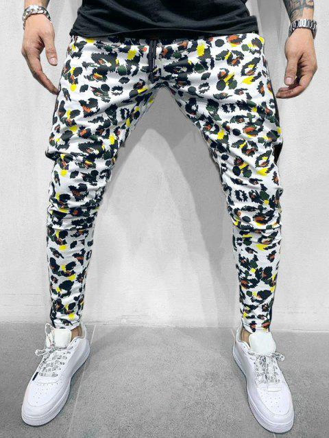 Leopard Printed Spliced Casual Pants - WHITE XS