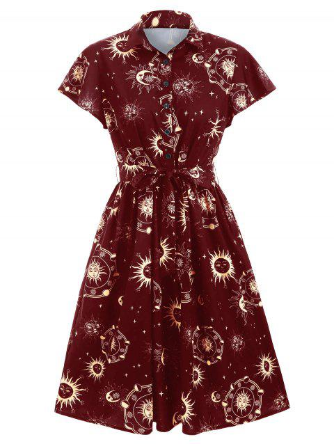 Sun Moon and Star Print Belted Button Dress - RED WINE XL