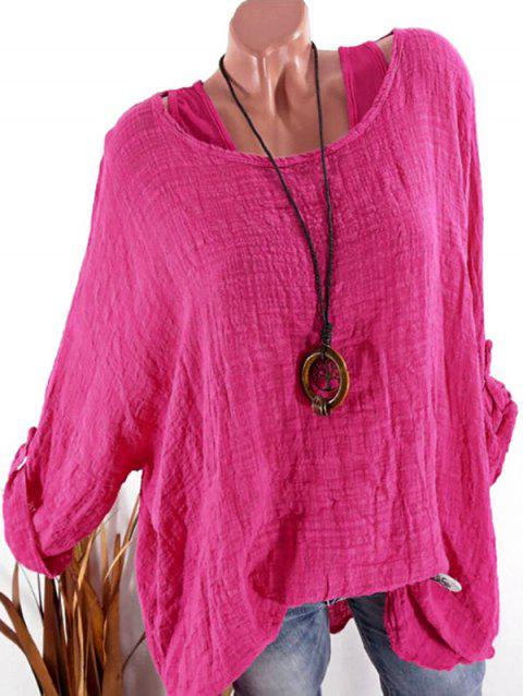 Plus Size Drop Shoulder Roll Up Sleeve Blouse - ROSE RED 3X