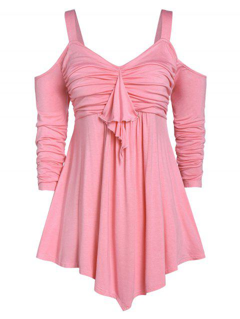 Plus Size Open Shoulder Solid Ruched T Shirt - PINK 4X
