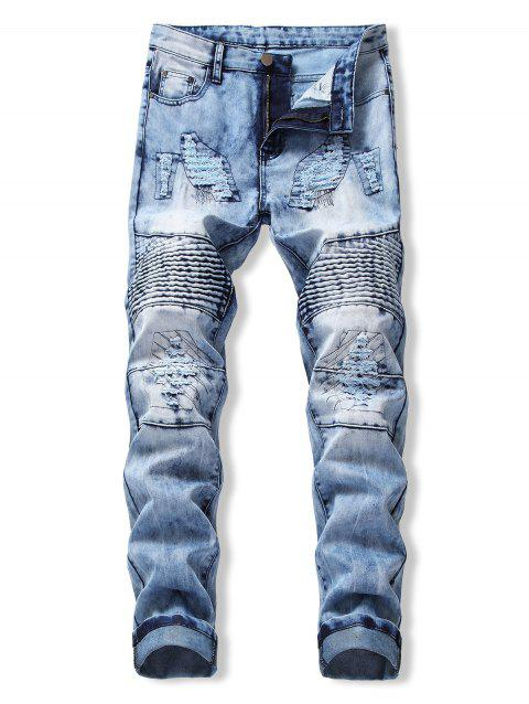 Drape Panel Ripped Design Flanging Jeans - DENIM BLUE 36