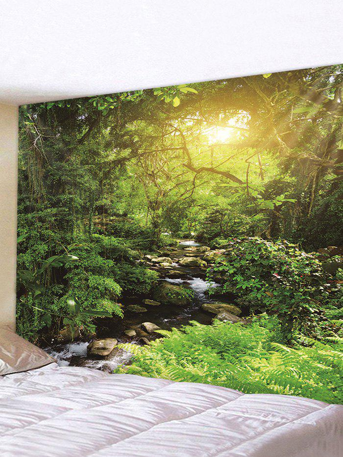 Sunlight Forest Stream Print Tapestry Wall Hanging Art Decoration - multicolor W79 X L71 INCH