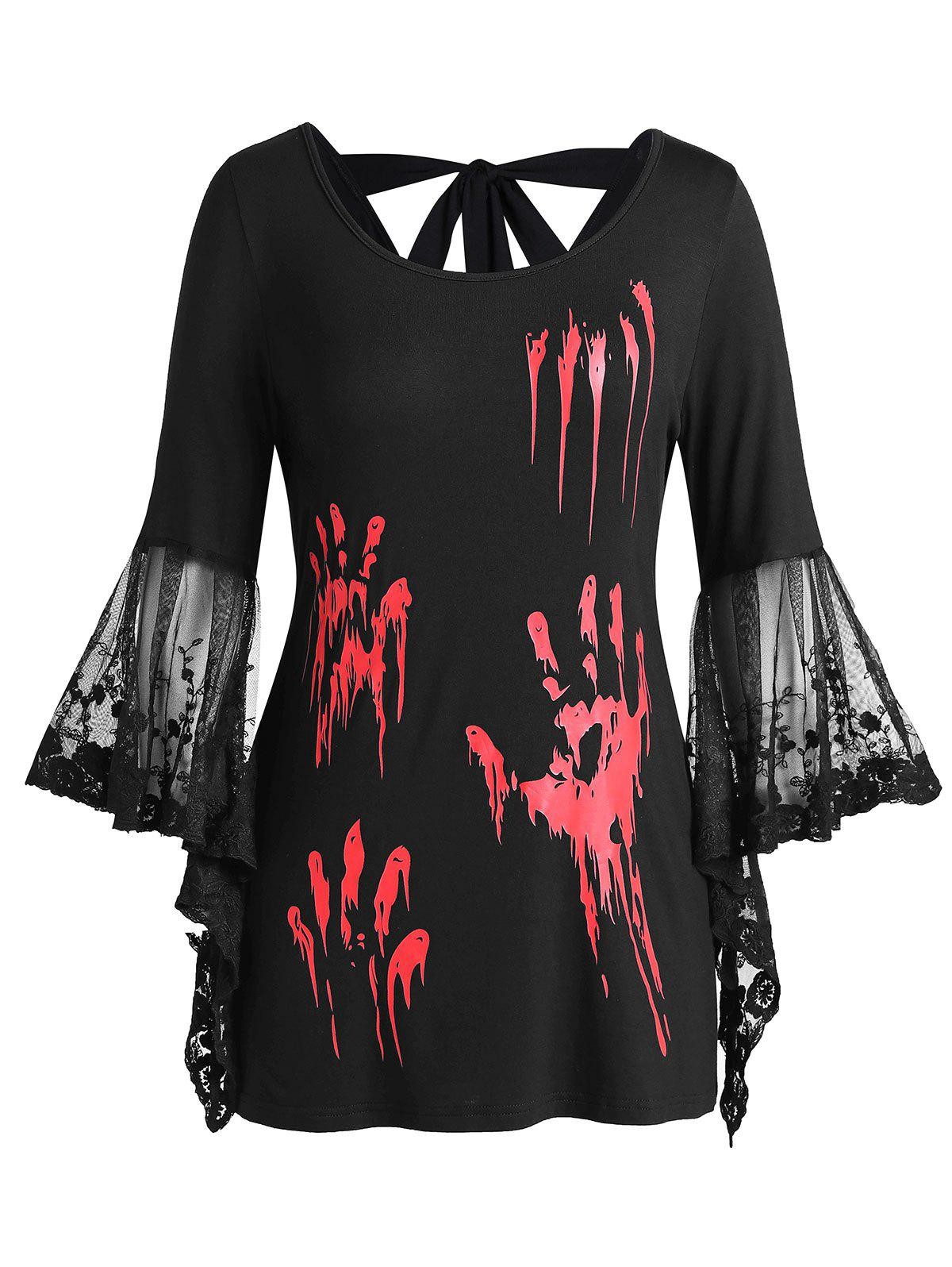 Plus Size Halloween Blood Hands Bell Sleeve Sheer Tee