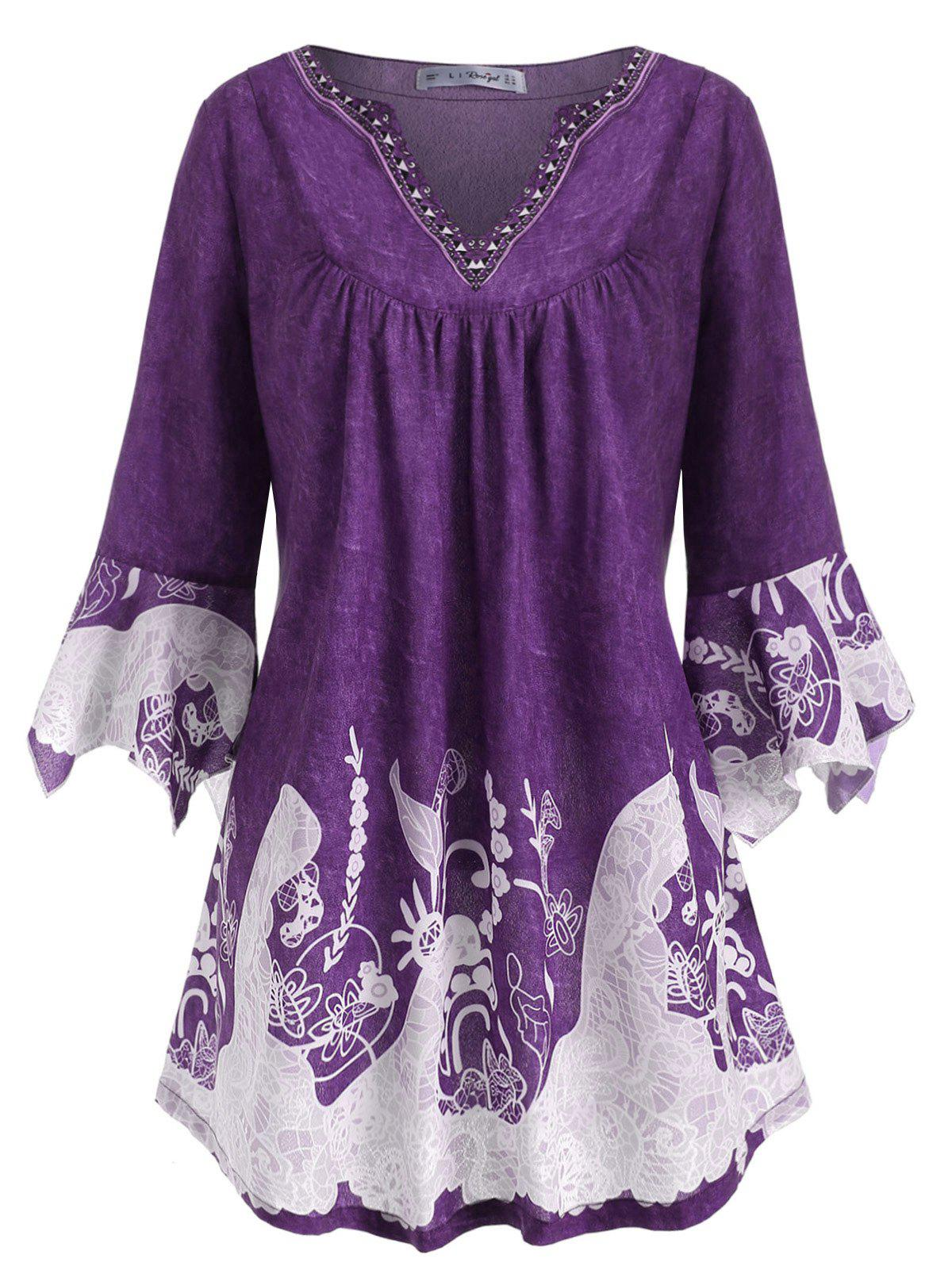 Notched Printed Flare Sleeve Plus Size Top - PURPLE L