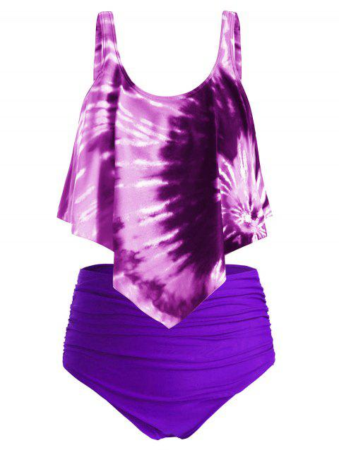 Plus Size Ruffled Tie Dye Ruched Tankini Swimsuit - multicolor H 5X