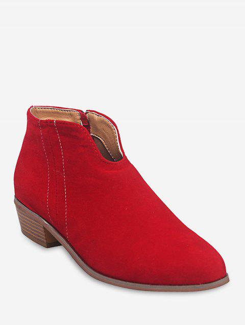Notched Collar Suede Ankle Boots - RED WINE EU 35