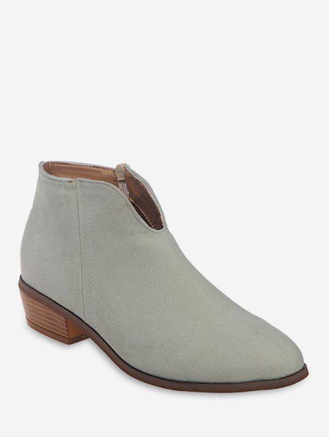 Notched Collar Suede Ankle Boots - BEIGE EU 35