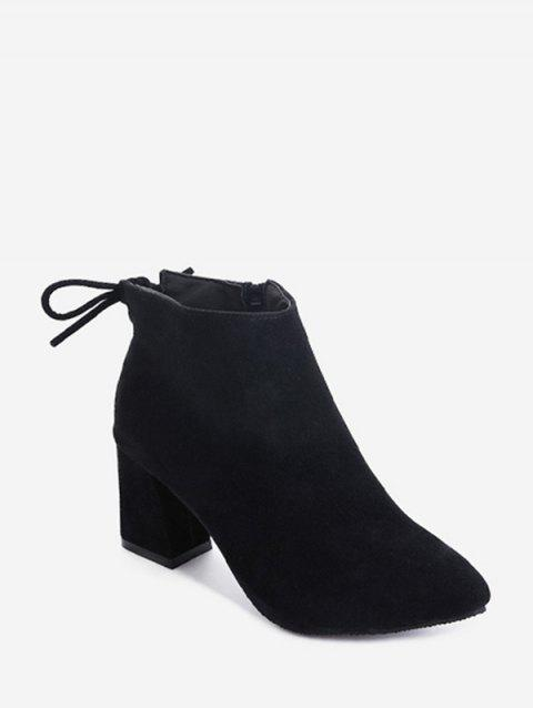 Solid Tie Back Suede Block Heel Ankle Boots - BLACK EU 41