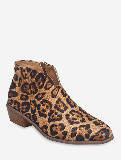 Notched Collar Suede Ankle Boots - LEOPARD EU 40