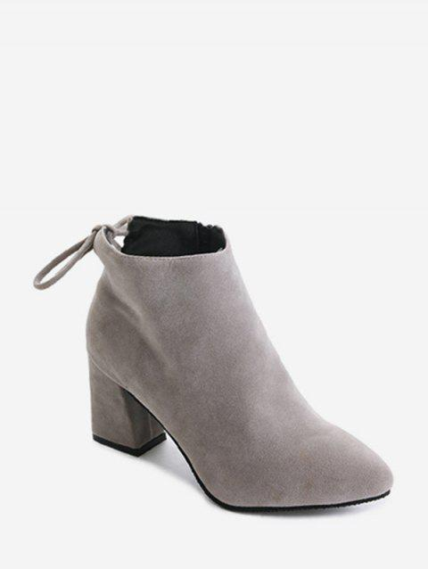 Solid Tie Back Suede Block Heel Ankle Boots - GRAY EU 34