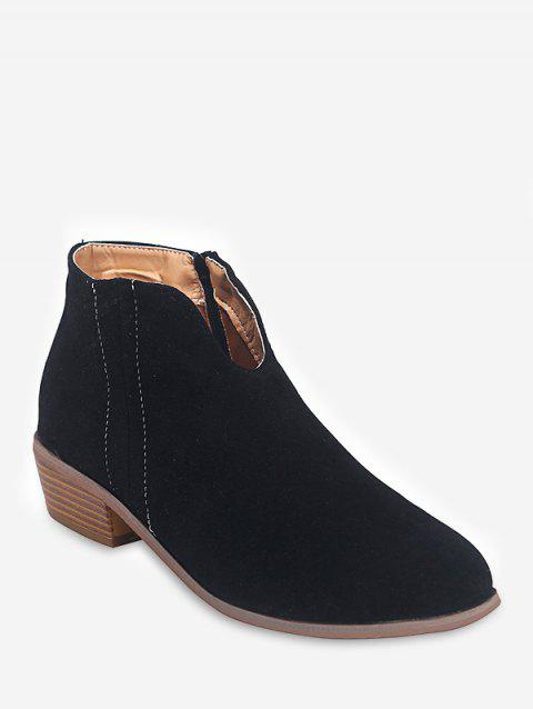 Notched Collar Suede Ankle Boots - BLACK EU 35