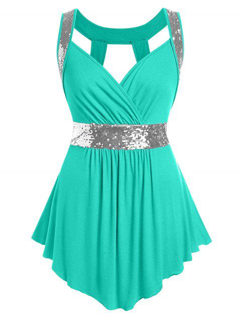 Plus Size Sequined Surplice Cut Out Tank Top - MACAW BLUE GREEN L