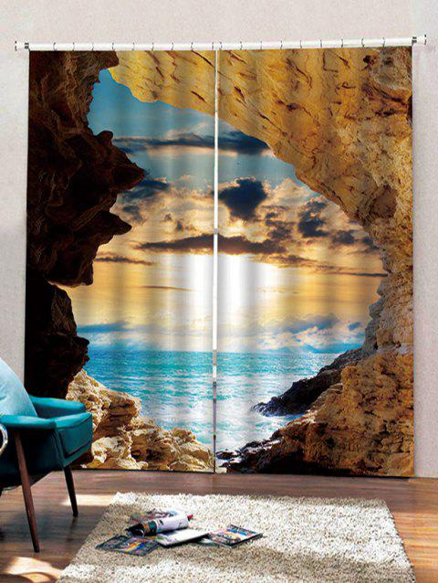 2 Panels Sunset Seaside Cave Print Window Curtains - multicolor W28 X L39 INCH X 2PCS