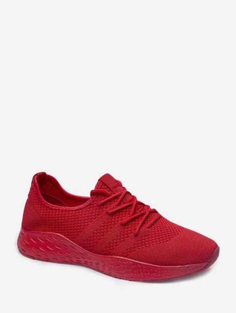 Knitted Breathable Lace Up Sneakers - RED EU 43