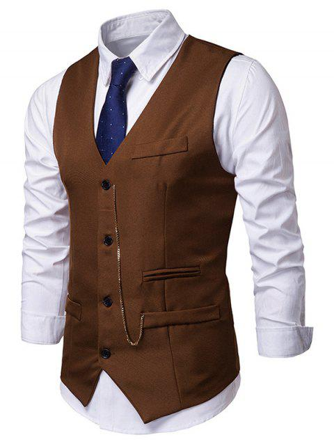 Solid Color Chain Decoration Casual Waistcoat - COFFEE L