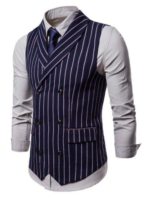 Striped Pattern Double Breasted Waistcoat - CADETBLUE XS