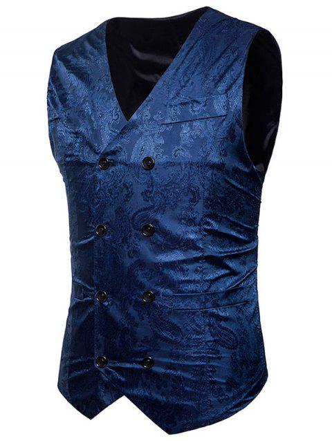 Paisley Print Casual Double Breasted Waistcoat - BLUE 2XL