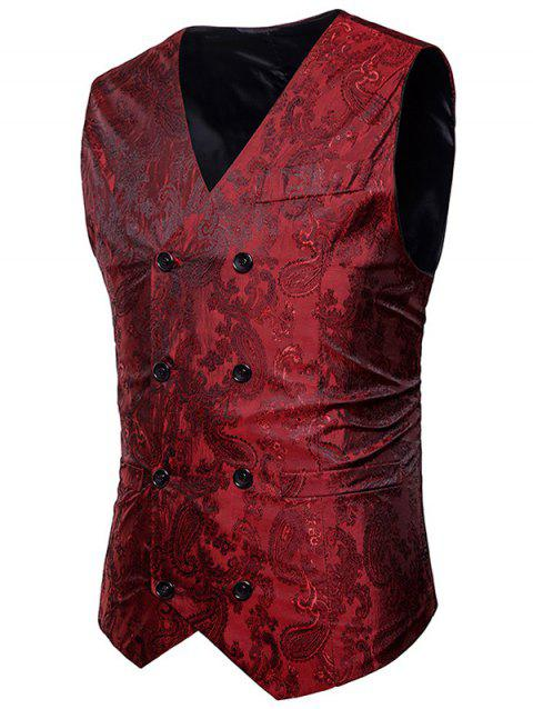 Paisley Print Casual Double Breasted Waistcoat - RED WINE 2XL