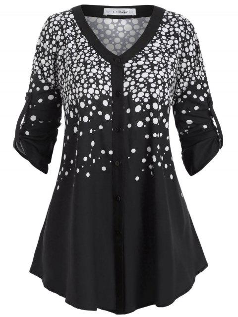 Button Up Buttoned Tabs Polka Dot Plus Size Top