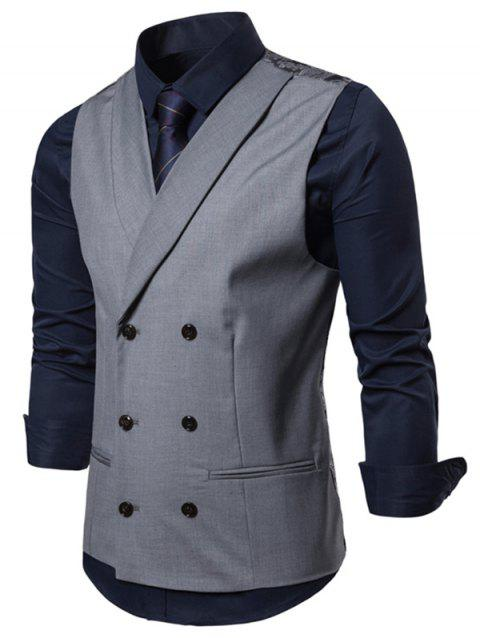 Double Breasted Casual Waistcoat - ASH GRAY 2XL