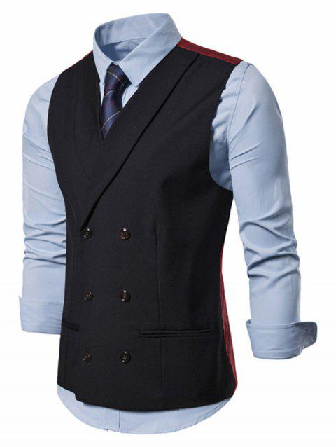 Double Breasted Casual Waistcoat - BLACK XL