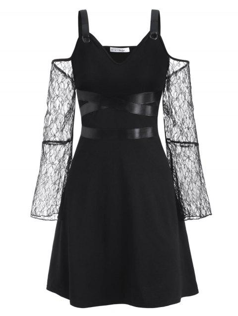 Buckled PU Leather Panel Lace Sleeve Plus Size Gothic Dress
