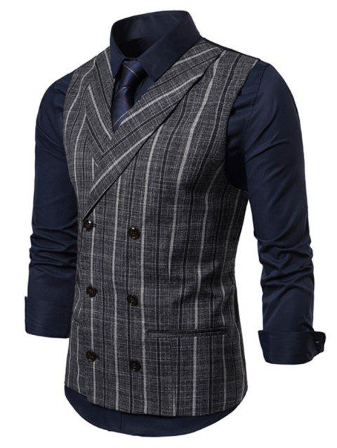 Striped Print Double Breasted Casual Waistcoat - ASH GRAY L